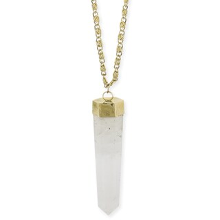 Clear Quartz Crystal Pendant Necklace (30-inches)