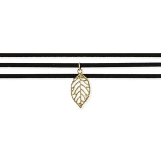 Gold Leaf Boho Black Suede 3-Line Choker Necklace
