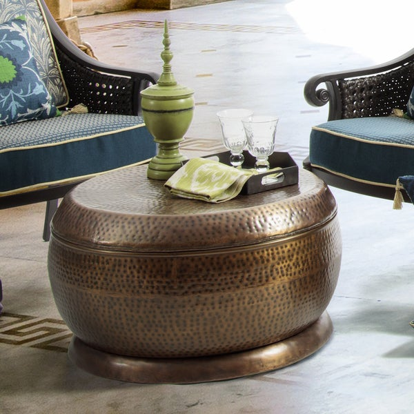 Antique Round Copper Coffee Table: Shop Bombay Madras Outdoor Antique Copper Coffee Table