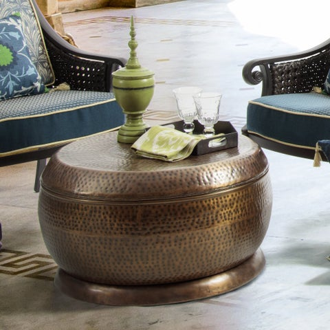 Bombay Madras Outdoor Antique Copper Coffee Table