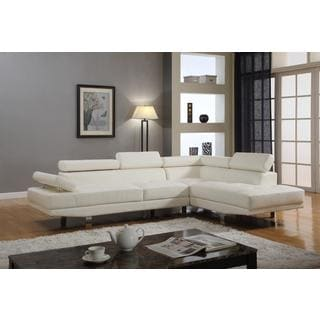 Contemporary Faux Leather 2-piece Sectional Sofa Set