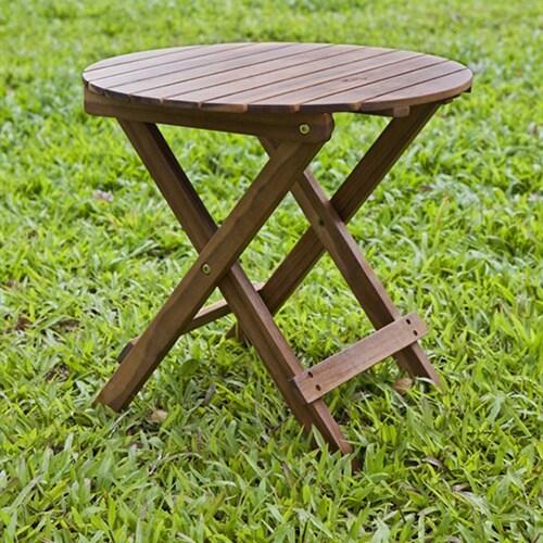 Balboa Foldable Outdoor Acacia Wood Round Adirondack Side Table