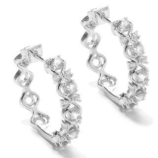 Sterling Silver Zircon Openwork Hoop Earrings