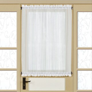 Semi-Sheer Micro-Stripe 40 Inch Tailored Door Curtain Panel With Tieback