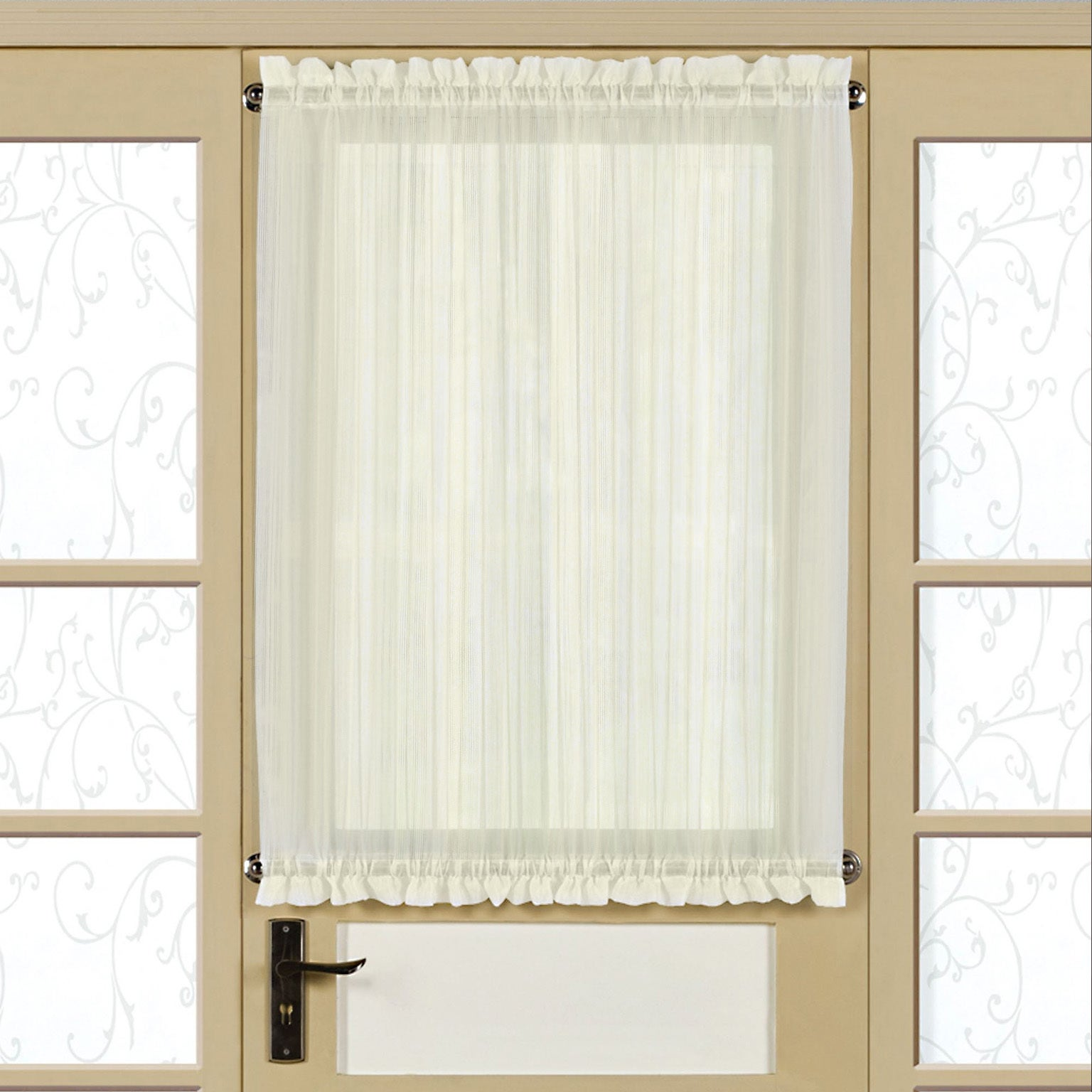 Semi Sheer Micro Stripe 40 Inch Tailored Door Curtain Panel With Tieback 40x60 Overstock 14352919