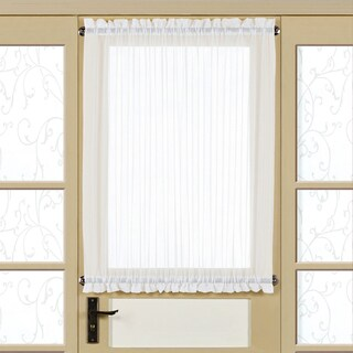 White Voile 40-inch Semi-sheer Tailored Door Curtain Panel with Tieback (2 options available)