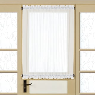 White Voile 40 Inch Semi Sheer Tailored Door Curtain Panel With Tieback