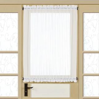 Semi-Sheer 40 Inch Tailored Door Curtain Panel With Tieback - 40x60 (White)