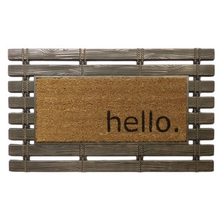 Montpelier Collection Rubber with Coir Brush Hello Design Welcome Mat