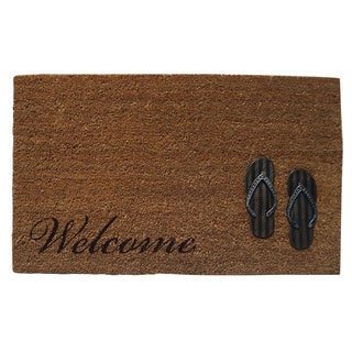 Home Fashion Designs Hadley Collection Coir Brushed Sandals Design Welcome Mat