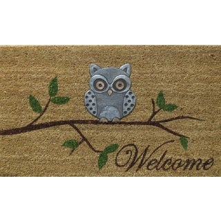 Home Fashion Designs Hadley Collection Owl Design Coir Brushed Welcome Mat