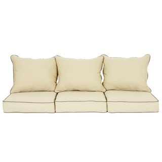 Sawyer Canvas Antique Beige with Charcoal Cording Indoor/ Outdoor Pillow and Cushion 6 piece Sofa Set