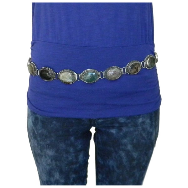 Women's Handmade Casual Adjustable Oval Multicolor Agate Belt (India)