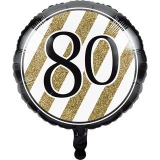 Black and Gold 80th Metallic Balloons (Case of 10)