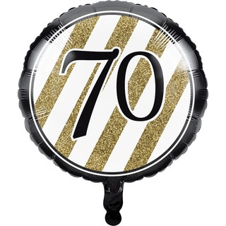 Black and Gold 70th Metallic Balloons (Pack of 10)