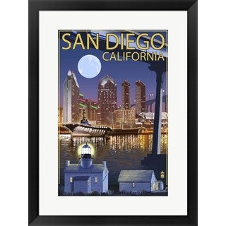 Lantern Press 'San Diego Night' Black Framed Art