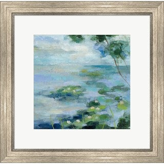 Silvia Vassileva 'Lily Pond II' Antique Silver-tone Framed Art