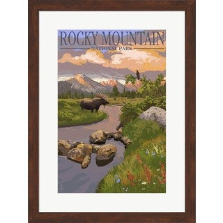 Lantern Press 'Rocky Mountain Park Moose' Framed Art