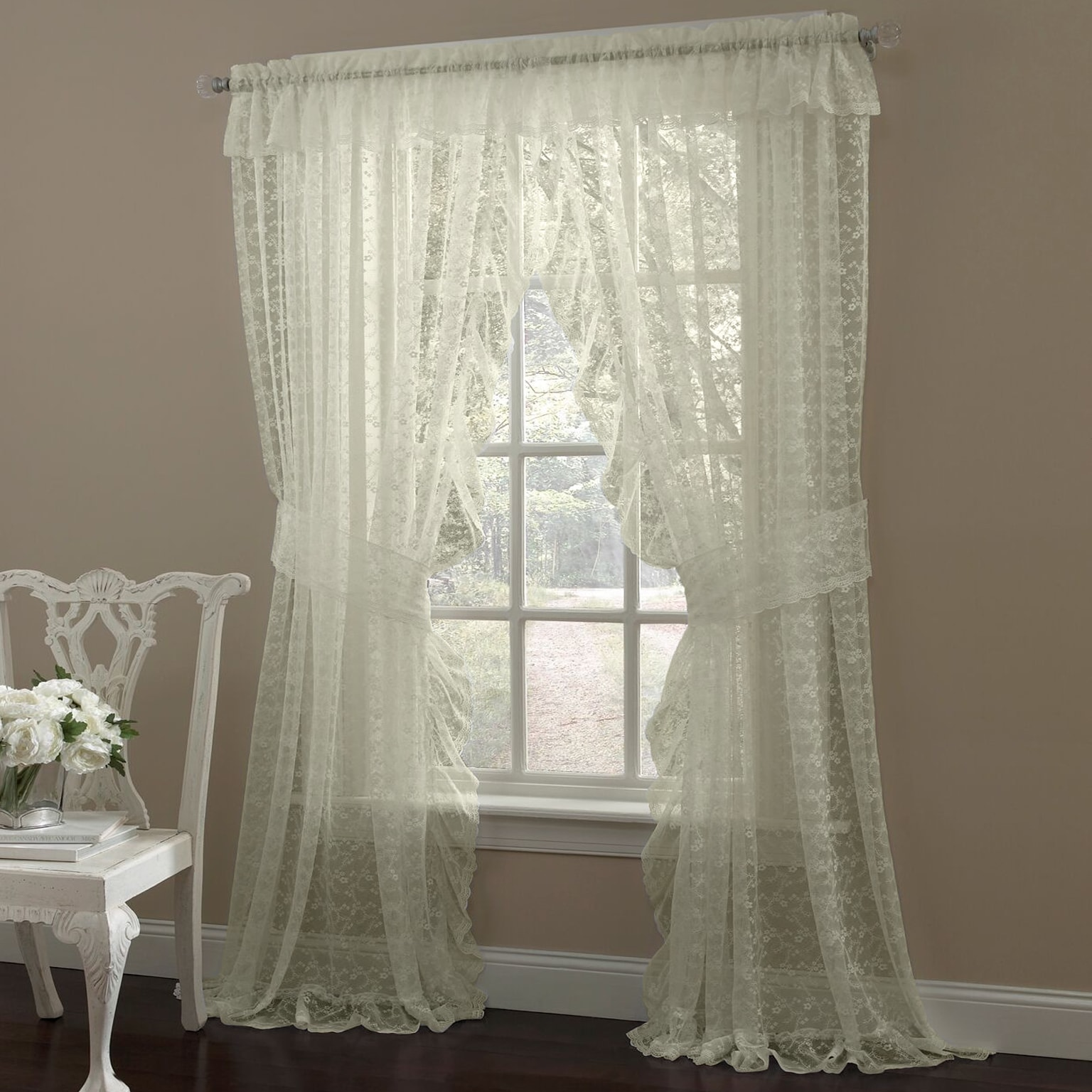Ruffled Bridal Lace Curtain Panel Pair With Scrolling Flower Pattern On Sale Overstock 14353665