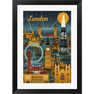 Lantern Press 'London Evening Ferris Wheel' Framed Wall Art
