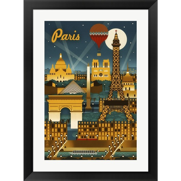 Lantern Press 'Paris Evening And Balloon' Framed Art