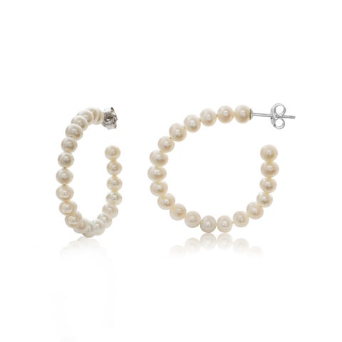 Pearlyta Potato Pearl Half Hoop Earring with Sterling Silver Push Backs (4-4.5mm) - White
