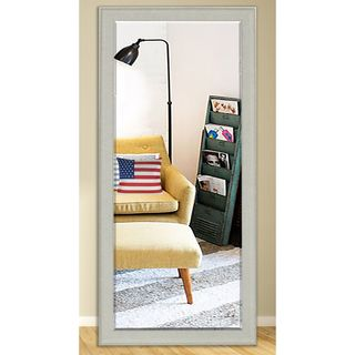 US Made Vintage White Beveled Full Body Mirror