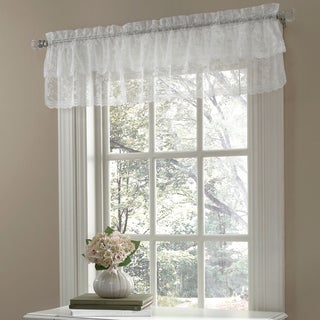 Ruffled Bridal Lace Valance With Scrolling Flower Pattern