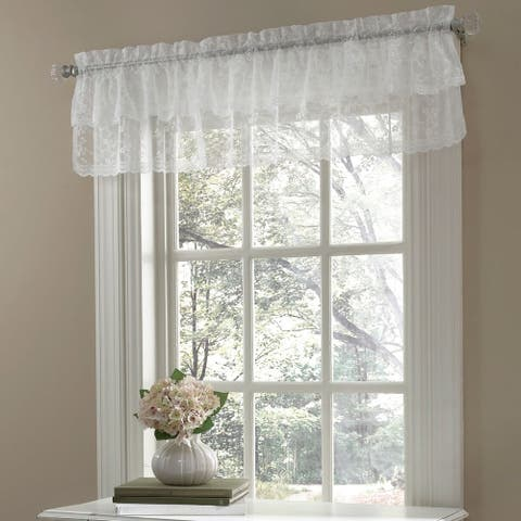 Ruffled Bridal Lace Valance with Scrolling Flower Pattern - 12x60