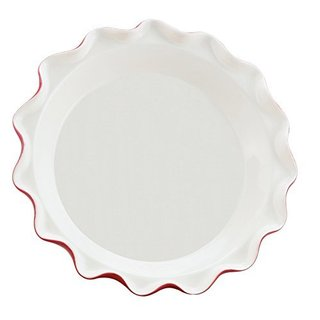 Harold Imports Rose's Red and White Ceramic Perfect Pie Plate