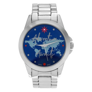 Journee Collection Women's Round Face 'Adventure Awaits' Blue Map Dial Link Bracelet Watch