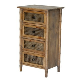 Wallace Collection Bamboo-look Rattan Cane 4-drawer Chest