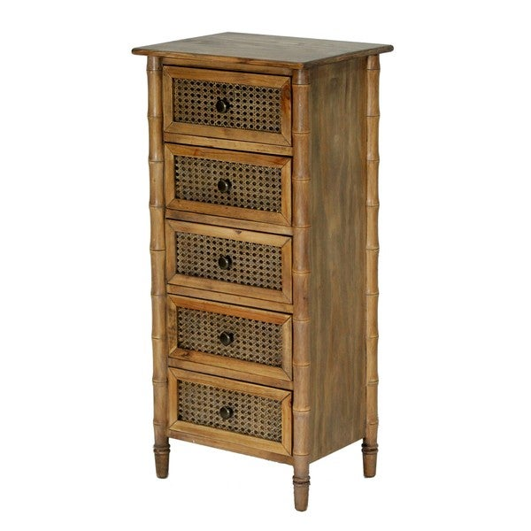 Wallace Collection Bamboo-look Rattan Cane 5-drawer Chest