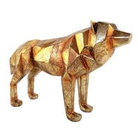 "Aurelle Home Cello Large Gold Resin Wolf Statue - 14"" x 4"" x 8"""