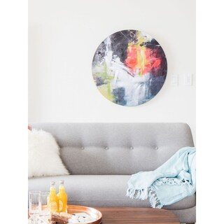 Aurelle Home Round Canvas Abstract Wall Decor