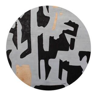 Aurelle Home Round Abstract Canvas Wall Decor