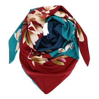 LA77 Multicolor Faux Silk Square Floral Scarf