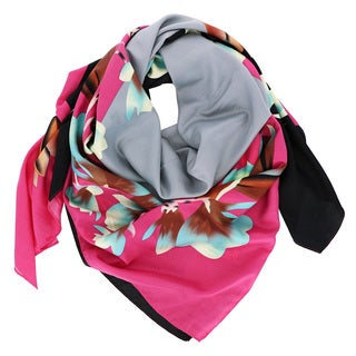 LA77 Multicolor Faux Silk Square Floral Scarf