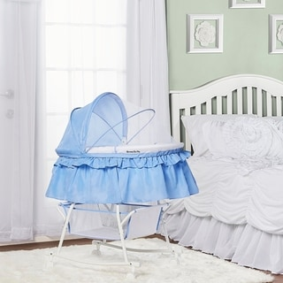 Dream on Me Serenity Blue and White Lacy Portable 2-in-1 Bassinet and Cradle