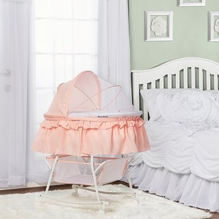 Dream On Me Lacy, Portable 2 in 1 Bassinet and Cradle in Rose Quartz
