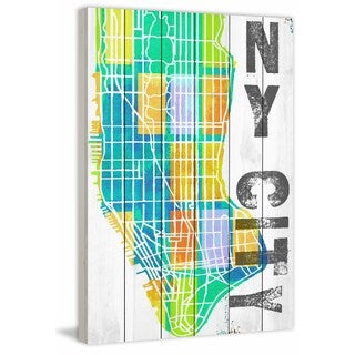 Marmont Hill - 'NY City' Painting Print on White Wood