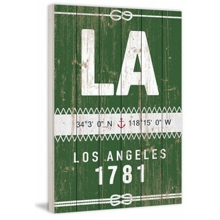 Marmont Hill - 'Los Angeles Circa 1781 in Green' Painting Print on White Wood