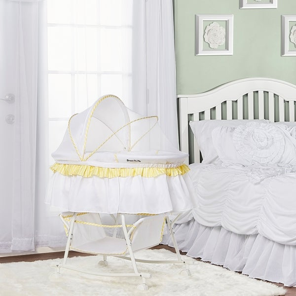 Dream On Me Lacy, Portable 2 in 1 Bassinet and Cradle in Yellow and white