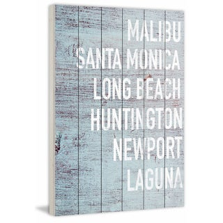 Marmont Hill - 'Cali Beaches' Painting Print on White Wood