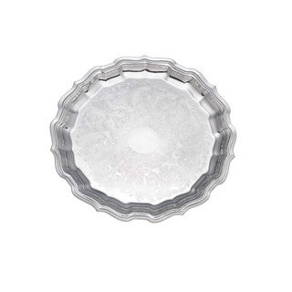 Reed and Barton Embossed Chippendale Silverplate 12-inch Round Tray