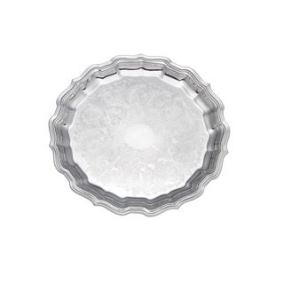 Reed and Barton Embossed Chippendale Silver Finish Metal 14-inch Round Tray