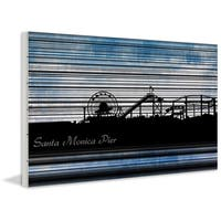 Marmont Hill - 'Santa Monica Pier' Painting Print on White Wood
