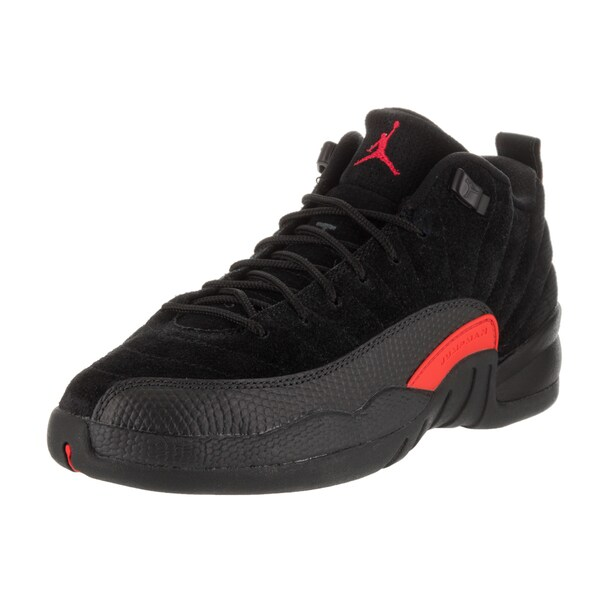 best sneakers 4e38a d9f95 Nike Jordan Kids Air Jordan 12 Retro Low Bg Black Leather Basketball Shoes