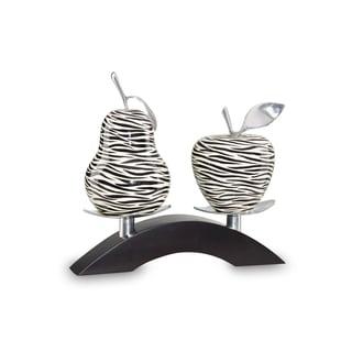 Black/ White Zebra-pattern Wood/ Pewter Medium Pear and Apple on a Twin Bridge Stand