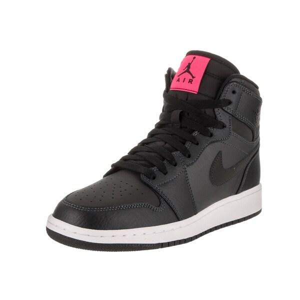 Nike Jordan Boys  x27  Air Jordan 1 Retro High Gg Black Leather Basketball  Shoe 05c567be02e4